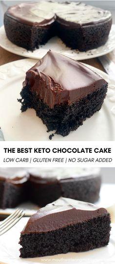 Keto Chocolate Cake, Chocolate Ganache, Chocolate Recipes, Sugar Free Desserts, Healthy Dessert Recipes, Keto Recipes, Low Carb Deserts, Low Carb Sweets, Keto Friendly Desserts