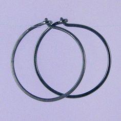 Small KISS hoops Black niobium hoop earrings by Element41 on Etsy