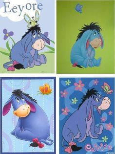 Lot Of 4 Eeyore Fabric Panel Squares by CraftyDesignNBargain, $4.99