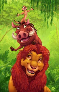 """Hakuna Matata by DolphyDolphiana.deviantart.com on @DeviantArt - Timon, Pumbaa, and Simba from """"The Lion King"""""""