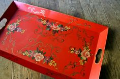 1940s hand-painted metal serving tray