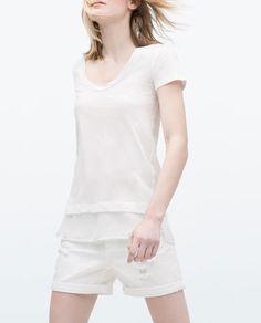Immagine 3 di T-SHIRT ORLO COMBINATO di Zara