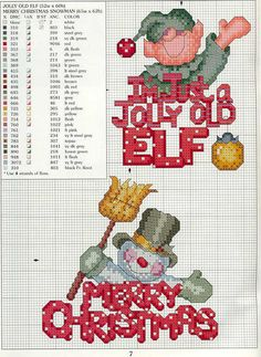 Cross stitch. Christmas. Elf and snowman patterns