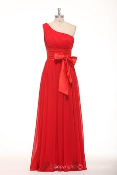 Zipper Empire Red One Shoulder Sleeveless Celebrity Inspired Evening Dresses