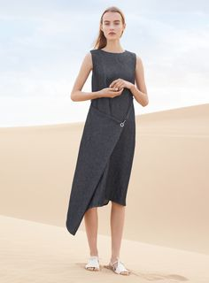 Maartje models asymmetrical dress in COS's spring-summer 2016 campaign