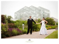 Bride and groom outside at Meijer Gardens (Genevieve McKeiver Photography)