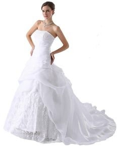 Faironly Embroidery Hot Empire Bridal Gown Wedding Dress Size 6 8 10 12 14 16