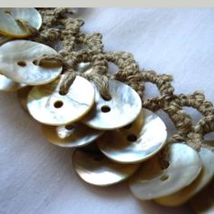 tatted hemp and shell button necklace