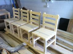 Rustic Dining Chairs - Handcrafted from Recycled Beetle Kill Pine - From Colorado Tables