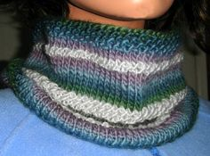 """Seed Stitch Stripes Cowl Knitting Pattern/ Size 10 US (6 mm) 20 or 24"""" circulars 1 ball Mochi Plus by Crystal Palace Yarns -Color 604 Bodega Bay (Color A) 1 ball Mochi Plus Solid by Crystal Palace Yarns - Color 1506 Oyster Gray (Color B) 80% Merino Wool/20% Nylon 50 grams/1.75 ounces 95 yards/87 meters"""