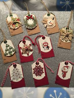 Ideas for making Christmas gift tags Christmas Gift Wrapping, Christmas Paper, Handmade Christmas, Handmade Gift Tags, Ideias Diy, Card Tags, Gift Cards, Christmas Crafts, Diy Christmas Tags