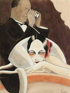 Theatre Box Logic, illustration by Dodo Burgner for the magazine Ulk, 1929