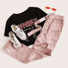 SHEIN D-Ring Belted Pocket Patched Satin Pants Source by exxcelsior outfits summer 2020 Teenage Outfits, Teen Fashion Outfits, Outfits For Teens, Trendy Outfits, Girl Outfits, Jugend Mode Outfits, Tumblr Outfits, Tee Dress, Look Cool