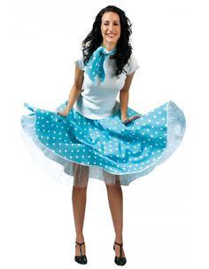 Déguisement jupe rock bleue à pois blancs Déguisements Années 50 #grease #sandy #deguisement #costume
