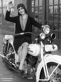 A Classic Look @ Women & Motorcycles!!!    From FACEBOOK Friend: Mike Miller &  ‎Antique Motorcycle Memorabilia, Parts and Literature   IMAGE RESOURCE: http://www.bikernetbaggers.com/pages/SANTA_ANA_THURSDAY_NEWS_NOT_FOR_THE_FAINT_AT_HEART_May_1st_2014.aspx
