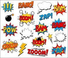 Burbujas de superhéroe cómico gráfico libro Clip por YarkoDesign - Visit now to grab yourself a super hero shirt today at 40% off!