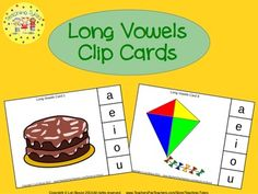 These cards are terrific – A Hands-On Activity your kiddos will love!  64 Long Vowels Clip Cards allow learners to practice their long vowel sounds. On each card is a picture and three vowel choices. Learners sound out the picture name and clip a clothespin to the correct long vowel sound.  ~~~~~ Newly Updated ~~~~~ These cards have been rearranged to redistribute the vowels, an answer key has been added, and recording sheets have been included to further enhance this phonics packet.