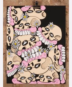 'Pushing Daisies' the limited edition artwork by artist Sweet Toof. Available to buy online at Nelly Duff.