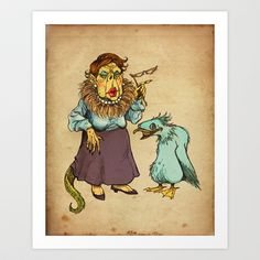 Lizard Lady and Pet Art Print by ChrisAbles - $15.00