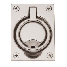 Baldwin 0395 2-1/2 Inch x 3-5/16 Inch Flush Cabinet Pull Lifetime Polished Nickel Pocket Door Lock Flush Pull Flush