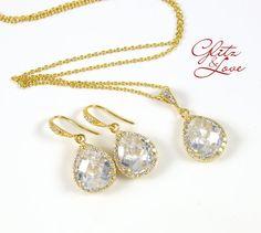 Champagne Gold Bridal Earrings Bridesmaids, Cubic zirconia teardrop, gold jewelry set, earrings, necklace, bridal, bridesmaid jewelry, by GlitzAndLove by GlitzAndLove