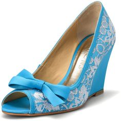 Something Blue Wedding Wedges Blue Lace Bridal Peep Toe Wedge Bright... ($90) ❤ liked on Polyvore featuring shoes, black, pumps, women's shoes, peep toe shoes, bridal wedge shoes, black high heel shoes, blue wedge shoes and black shoes