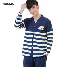 BXMAN Brand Men's Pijamas Hombre Modern Pyjama Homme Cotton Striped V-Neck Full Sleeve Men Pajamas Sets Modal 28