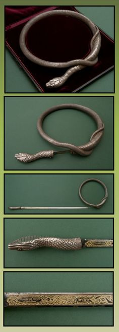 A masterpiece of Spanish art weapons. This silver sword snake has an etched flexible blade and is marked: Fca de Toledo in 1846.