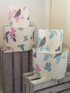 30cm and 20cm lampshade Shetland starling design in pink/purple and turquoise/green options :)