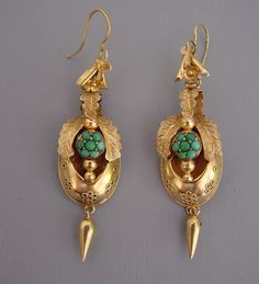 Earrings, turquoise, Victorian, jewelry, Victorian jewelry,
