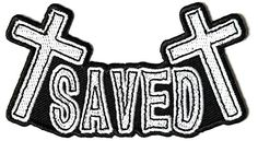 """Embroidered Iron On Patch - Saved with Crosses 4"""" Patch Ivamis Trading http://www.amazon.com/dp/B00Q424G44/ref=cm_sw_r_pi_dp_Ol2Pub1537EZH"""