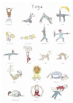 Pôster traz poses de yoga de forma lúdica para as crianças
