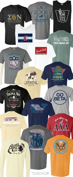 Our favorite Fraternity Recruitment designs. Stay Tuned for our recruitment packages. We can personalize any that you see here just for your chapter! #fraternityshirts #tgigreek