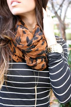 Mixed Prints. some can be tacky, but some (like this) are just gorgeous.   Love the shirt and scarf combo colors