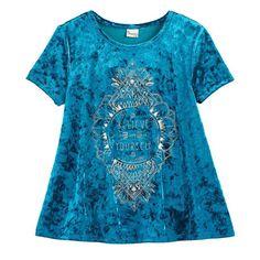 Girls 7-16 & Plus Size Mudd® Foil Print Velvet Swing Tee, Size: 14 1/2, Turquoise/Blue (Turq/Aqua)