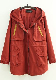 Red Plain Zipper Pockets Trench Coats