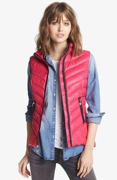 Pink vest with denim shirt