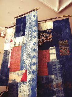 free people display - denim patchwork wall hangings