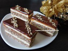 Raspberrybrunette: Orechovo- karamelový zákusok s čokoládovou polevou...