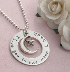 I love you to the moon and back necklace,  hand stamped jewelry, $42, by divinestampings