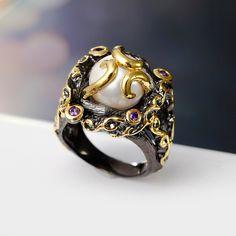 Anillo de perla Natural de agua dulce Negro placa de Oro Ajuste Con Alta calidad…