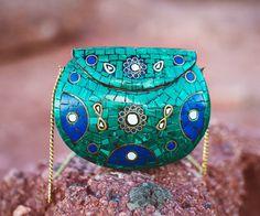 Malachite + Lapis Metal Purse | Artefacts