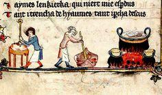 Cooking. c.1400 England. margin. illustrator, Jehan de Grise MS Bodl 264