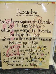 December Song Chart from Me & Marie Learning