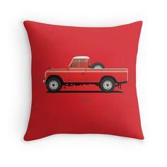 Series 3 PickUp 109 Red  #redbubble #landrover #landy #landroverseries #series3 #landroverpickup #ARVwerks #apparel #merchandise #carart #art #automotive #british #pickup #pickuptruck #landrover109 #throwpillow