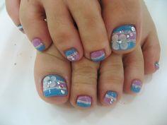 Toenail Designs: Blue toenail designs Cute Toenail Designs, Simple Nail Art Designs, Toe Nail Designs, Blue Toe Nails, Feet Nails, Purple Nail, Ombre Nail, 3d Nails, Pedicure Nail Art