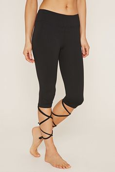 Forever 21 lace up capri leggings