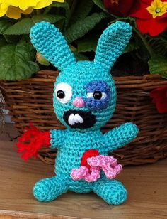 Splatterbunny by Kerstin Batz - This pattern is available for free. For more information, see: http://speckerna.blogspot.com/2012/03/frohe-ostern.html (could be used as an alternative for the cutesy bunny at Easter)
