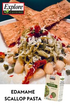 Try our delicious edamame scallop pasta as your healthy carb alternative when cooking dinner this week! We promise it'll taste even better than what you were using before! Edamame Spaghetti, Scallop Pasta, Carb Alternatives, Dinner This Week, Plant Based Recipes, Meals, Chicken, Cooking, Healthy