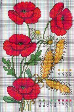 Poppies and wheat - free cross stitch pattern Cross Stitch Tree, Cross Stitch Flowers, Modern Cross Stitch, Cross Stitch Charts, Cross Stitch Designs, Cross Stitch Patterns, Diy Embroidery, Cross Stitch Embroidery, Embroidery Patterns